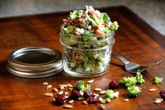 Broccoli craisin salad. I usually don't add the bacon because I'm lazy :) I love this salad!!! Great to bring to a bbq