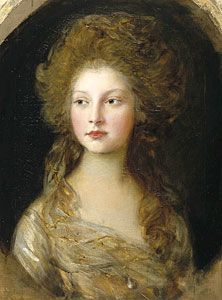 The Princess Elizabeth of the United Kingdom (1770-1840). She was a daughter of King George III and his wife, The Princess Charlotte of Mecklenburg-Strelitz. She was The Hereditary Princess of Hesse-Homburg (1818-1820), and Sovereign Landgravine of Hesse-Homburg (1820-1829) as the wife of Sovereign Landgrave Friedrich VI. She had no children. [portrait by Thomas Gainsborough, 1782]