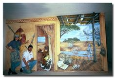 an African mural using faux finishing and trompe l'oeil techniques