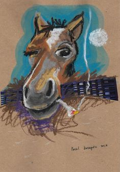Buy Smoking horse Pastel drawing by Pavel Kuragin on Artfinder. Discover thousands of other original paintings, prints, sculptures and photography from independent artists. Pastel Drawing, Pet Birds, Smoking, Moose Art, Original Paintings, Sculptures, Collage, Paper Crafts, Horses