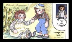 Collins Hand Painted FDC Sc. # 3151c Collins #T2703 Dolls Raggedy Ann & Andy