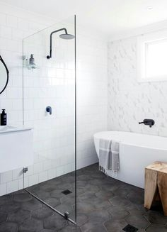Small Bathroom Design Ideas Recommended For You. Believe or not, small bathroom design ideas can look spacious and practical if you decorate it right. Bathroom Floor Tiles, Laundry In Bathroom, Bathroom Renos, Bathroom Interior, Master Bathroom, Wet Room Bathroom, Bathroom Remodeling, Remodeling Ideas, Remodel Bathroom