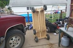 6 Wheel Garden Wagon : 5 Steps (with Pictures) - Instructables Lawn Tractor Trailer, Trailer Deck, Garden Wagon, Metal Cart, Hand Cart, Dump Trailers, Stainless Steel Counters, Used Tires, Plywood Sheets