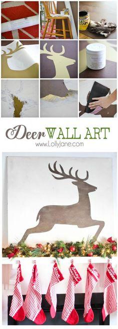 DIY Christmas Deer Wall Art