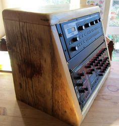 Reclaimed wood 8u angled rack unit