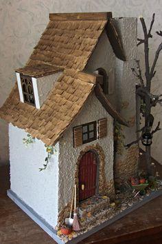 Miniature Crafts, Miniature Houses, Miniature Fairy Gardens, Putz Houses, Fairy Houses, Cardboard Crafts, Paper Crafts, Christmas Crafts, Christmas Decorations