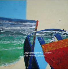 Acrylic on cotton 137 x 137 cm, unframed Caribbean Art, Contemporary Artists, Jamaica, Experience, Waves, Boat, Fine Art, Park, Outdoor