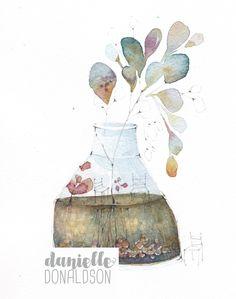 Art And Illustration, Watercolor Illustration, Doll Painting, Painting & Drawing, Watercolor Artwork, Watercolor Flowers, Art Studio Design, Coloring Book Art, Jar Art