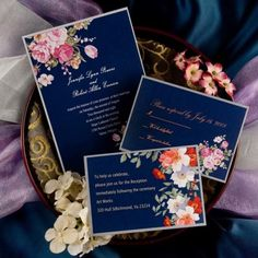 "Chic Vintage Floral Navy Blue Wedding Invitations// Use coupon code ""CVB"" to get 10% off towards all the invitations. #elegantweddinginvites"