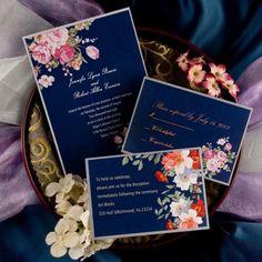 elegant peony blue printable vintage wedding invitations EWI137 |