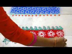 Border rangoli   magic finger rangoli   part - 1 by Nidhi Jain - YouTube