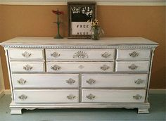 Vintage 7 drawer dresser in Snowfall White by TheWoodress on Etsy, $350.00