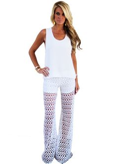 Alexis Madrid Wide Leg Crochet Pant in Ecliptic White