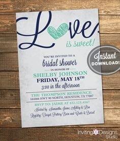 Bridal Shower Invitation, Love is Sweet, Heart, Navy Blue, Mint Green, Rustic, Sweet, Candy, Printable File (INSTANT DOWNLOAD) #IDS1019 by InvitingDesignStudio on Etsy