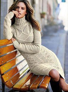Теплое и красивое платье спицами — Рукоделие