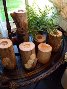 Reclaimed branch candle holders