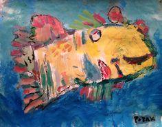 Primitive Sunfish Painting, yellow tropical fish, Caribbean flavor, Island art by PotakPaintsArt on Etsy