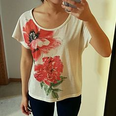 Floral Rhinestone Ston Short Sleeve tshirt tee Soft cute floral tee Forever 21 Tops Tees - Short Sleeve