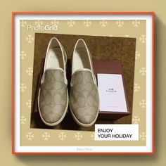 "Brand new coach shoes Brand new received as gift but little big on me ( normally I wear 7.5 ) beige color with "" C "" logos original shoe box and care card Coach Shoes Flats & Loafers"
