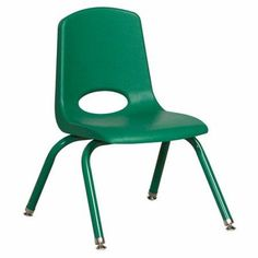 ECR4Kids 12 inch School Stack Chair with Powder Coated Legs/6 pack, Swivel Glide, Green