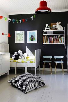 Monochrome. Black wall in a kid's room.
