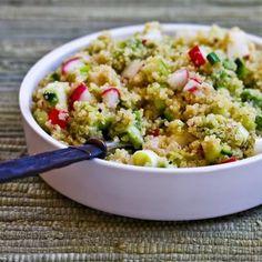 Quinoa Salad with Avocado, Radishes, Cucumbers, and Cumin-Lime Vinaigrette Recipe Salads with quinoa, water, avocado, lime juice, radishes, cucumber, sliced green onions, lime juice, ground cumin, seasoning, sea salt, extra-virgin olive oil