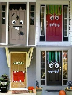 Would love to do this :) Cute Halloween Costumes, Halloween Door Decorations, Halloween Crafts For Kids, Halloween Horror, Halloween Diy, Happy Halloween, Kids Crafts, Halloween Monster Doors, Living Room On A Budget
