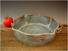 Rustic Baking Dish with Handles - Blue - Casserole - Wheel Thrown Pottery - by D. Rustic Baking Dish with Handles – Blue – Casserole – Wheel Thrown Pottery – by D… Ceramic Clay, Ceramic Plates, Ceramic Pottery, Pottery Art, Slab Pottery, Pottery Tools, Pottery Classes, Small Baking Dish, Baking Dishes