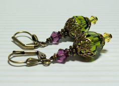 Olivine Swarovski Crystal Earrings. Olivine, Amethyst, Topaz. Brass and Crystal. Green Earrings. Multicolor Earrings. by VickieJoesJewels on Etsy