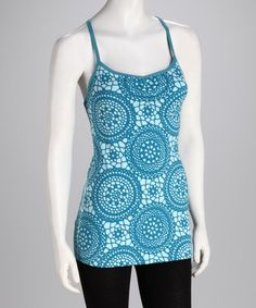 Take a look at this Porcelain Blue Crocheted Print Heart Center Camisole by lucy on #zulily today!