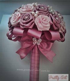 Buquê de rosas cetim e broches-PROMOÇÃO   Pretty Art   Elo7