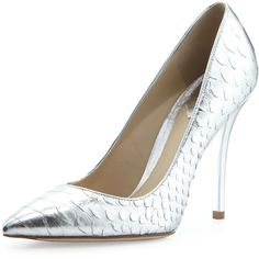 Brian Atwood Joelle Metallic Python Pump, Silver on shopstyle.com