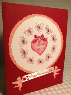 Valentine card with beads and stitching