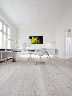 Raw Wood Flooring - Workspace Whites - Office Furniture - Modern Minimalistic Home Exteriors & Interiors- HOME INTERIOR DESIGN IDEAS FOR YOUR MODERN MINIMALIST CHIC SELF - HOLLYWOOD HILLS LIFESTYLES - EXPENSIVE TASTE - Karina Porushkevich #karinarussianpowpow {http://www.karinaporushkevich.com}