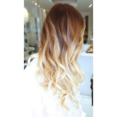 How to Get Caramel Blonde Ombre Hair ❤ liked on Polyvore featuring hair