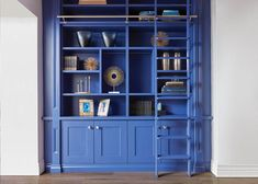 This stunning blue library epotimises how Neville Johnson can achieve bespoke. A striking feature for any home or space. Fitted Bedroom Furniture, Oak Bedroom, Lounge Furniture, Bespoke Furniture, Study Furniture Design, Library Furniture, Home Office Furniture, Cream Living Rooms, Home Living Room