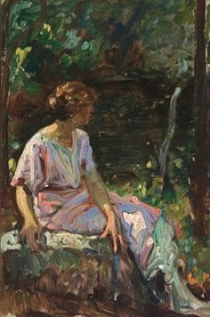 Woman in the garden - Sigismund Ivanowski (1875-1944)