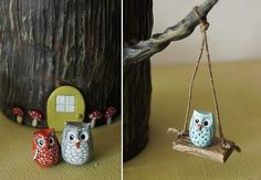 owl figs - would make a cute kids playset!