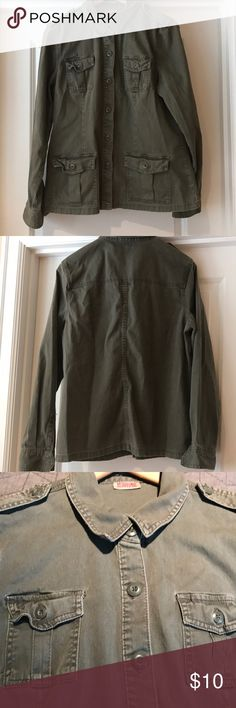 Army/cargo jacket Button down mission supply co. Jacket.  4 front button down pockets.  Long sleeve.  Smoke free home.  Excellent condition. Mossimo Supply Co Jackets & Coats Jean Jackets