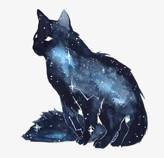 Galaxy Cat by ThreeLeaves. on - Galaxy Cat by ThreeLeaves. Warrior Cats, Fantasy Creatures, Mythical Creatures, Animal Drawings, Art Drawings, Drawing Animals, Galaxy Cat, Art Et Illustration, Painting & Drawing