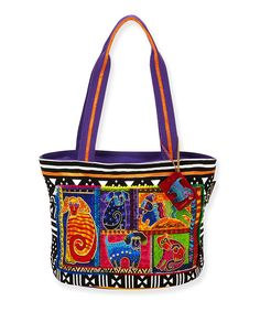 Look what I found on #zulily! Purple Dog Tails Patchwork Double-Handle Tote by Laurel Burch #zulilyfinds