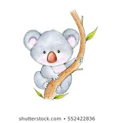 Illustrazione stock 552422836 a tema Cute Koala Bear Baby Koala, Cute Koala Bear, Baby Animal Drawings, Cute Bear Drawings, Easy Drawings, Bear Paintings, Happy Paintings, Koala Tattoo, Koala Craft