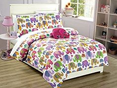 Amazon.com: Mk Collection 8pc Full Size Teens/Kids Girls Elephant White Purple Pink Yellow green Comforter And sheet set with furry Buddy included New Full, Comforter set: Home & Kitchen