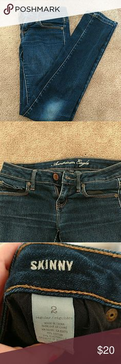 American Eagle classic AE skinny jeans These classic America Eagle skinny jeans look great with anything. These are stretch skinny jeans so they are extremely comfortable.Please check out my closet for more America Eagle clothes!  Bundle and save! American eagle Jeans Skinny