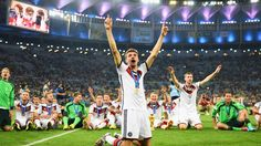RIO DE JANEIRO, BRAZIL - JULY 13: Thomas Mueller adn players of Germany celebrate after the 2014 FIFA World Cup Brazil Final match between Germany and Argentina at Maracana on July 13, 2014 in Rio de Janeiro, Brazil. (Photo by Shaun Botterill - FIFA/FIFA via Getty Images)