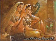 Indian woman, sari, desi, Indian painting