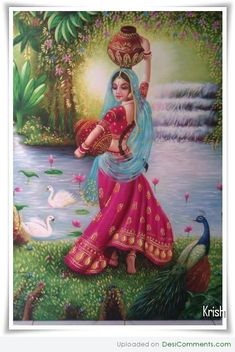 Paintings Pictures, Images, Photos - Page 20 Krishna Painting, Madhubani Painting, Painting Art, Hare Krishna, Krishna Art, Rajasthani Painting, Rajasthani Art, Indian Women Painting, Indian Art Paintings