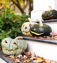 Add charm to a classic carved pumpkin with these adorable funny face #pumpkins. Get free patterns here: http://www.bhg.com/halloween/pumpkin-carving/pumpkin-carving-ideas/?socsrc=bhgpin083112funnyfacepumpkins