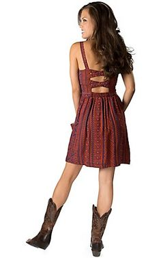 Angie Women's Navy Blue and Burnt Orange Tribal Print Bustier Sleeveless Dress