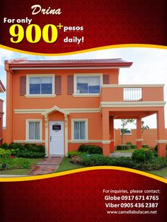 For only 900 plus a day! You can already avail one of our best selling unit DRINA. Talk to our trusted Digital Marketing Team now!  For more inquiries and FREE site tripping, you may reach us through: Primary Number: 0917-671-4765 (Globe) 0926-525-8029 (Smart) 0939-884-4403 (Viber) (+63) 905-436-2387 Email: camellaprovenceofficial@gmail.com Visit us: www.camellabulacan.net www.facebook.com/CamellaProvenceOfficial